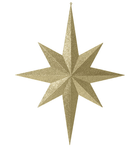 Eight point large glitter star - gold Gold