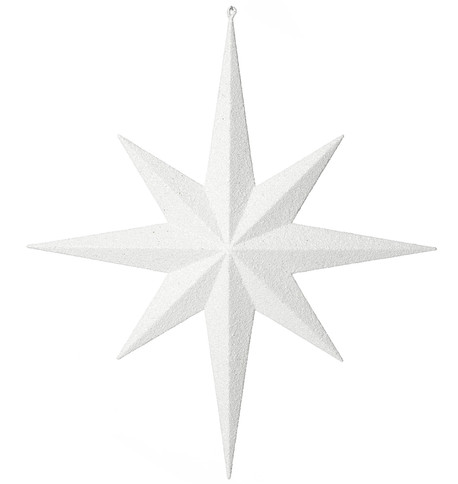 Eight point large glitter star - white White