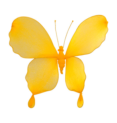GLITTERED BUTTERFLY - YELLOW Yellow