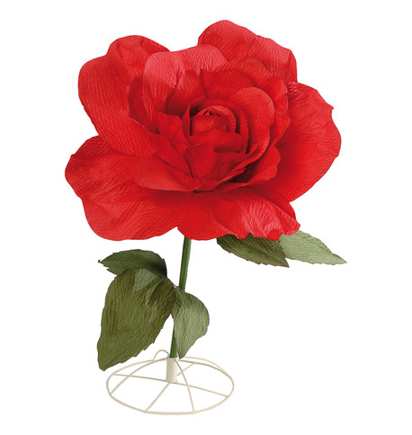 LARGE PARCHMENT ROSE - RED Red