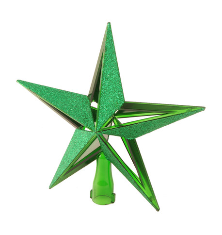 GLITTER PANELLED TREE TOPPER - GREEN Green