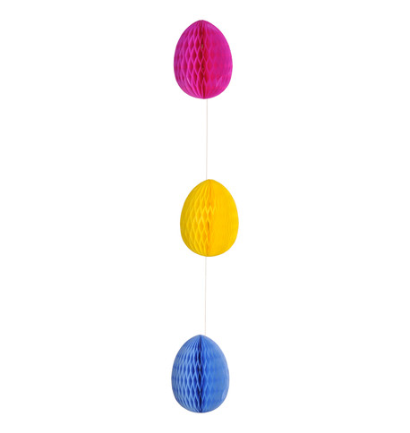 PAPER EGG GARLAND - MIXED Blue Yellow Pink