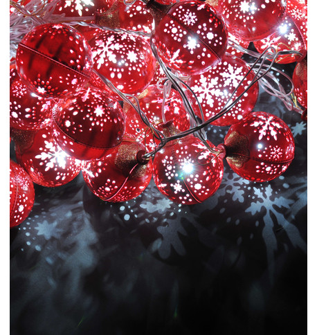 SNOWFLAKE BAUBLE LIGHTS - RED Red Clear
