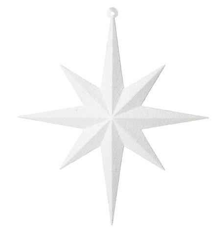 GLITTER STAR 8 POINT - WHITE White