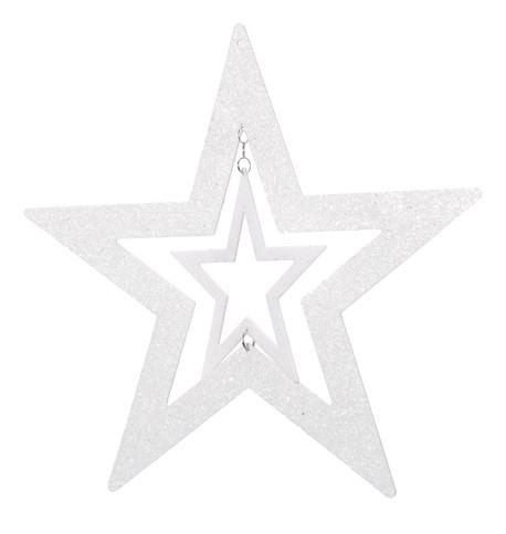 GLITTERED CUT OUT STAR - WHITE White