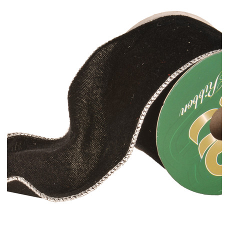 Black VELVET WIRE EDGED Ribbon Black