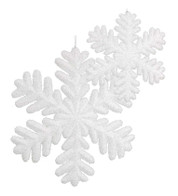 GLITTERED SNOWFLAKES - White