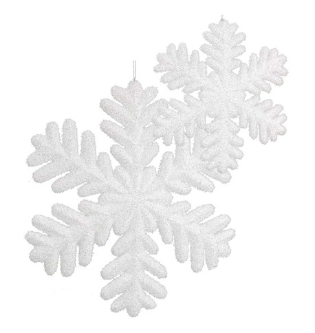 GLITTERED SNOWFLAKES White