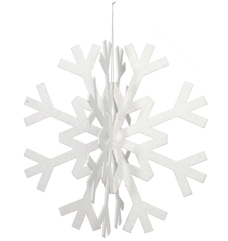 GLITTERED SLOT TOGETHER SNOWFLAKE White