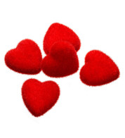 FLOCKED HEARTS - Red