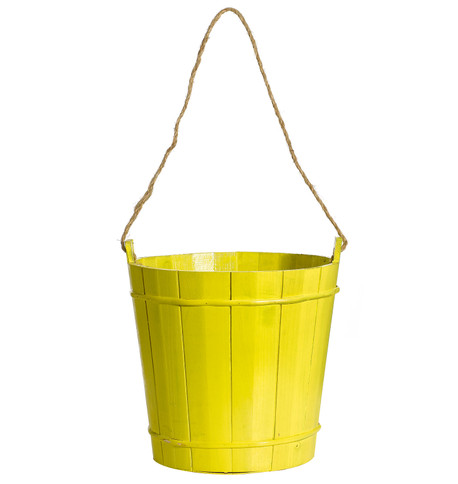 WOODEN BUCKET Yellow