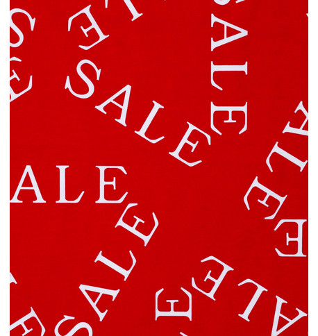 SALE FABRIC White On Red