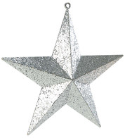 LARGE GLITTER STARS - SILVER - Silver