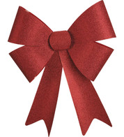 GLITTER BOWS - RED - Red
