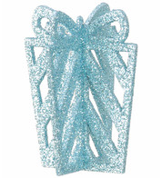 GLITTERED GIFT BOX DECORATION - BLUE - Blue