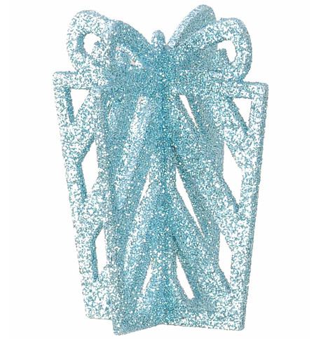 GLITTERED GIFT BOX DECORATION - BLUE Blue