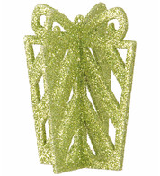 GLITTERED GIFT BOX DECORATION - GREEN - Green