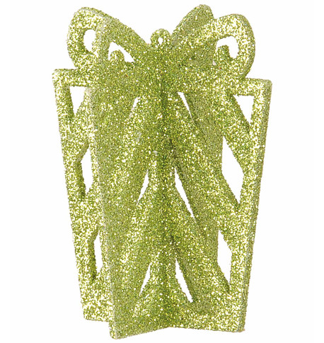 GLITTERED GIFT BOX DECORATION - GREEN Green