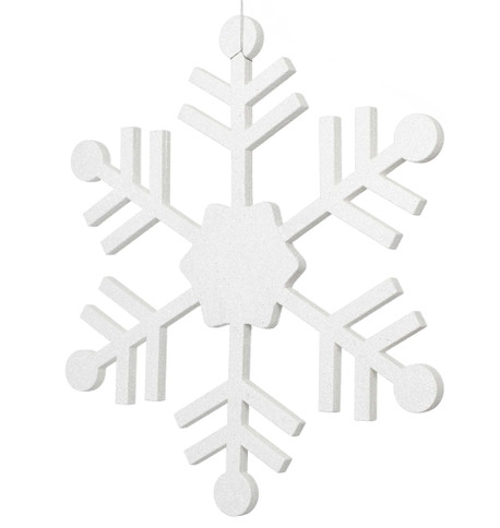 GLITTERED PAPIER-MACHE SNOWFLAKE White
