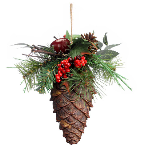 GIANT PINE CONE WITH GREENERY Multi