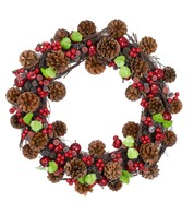 BERRY & CONE WREATH - Multicolour