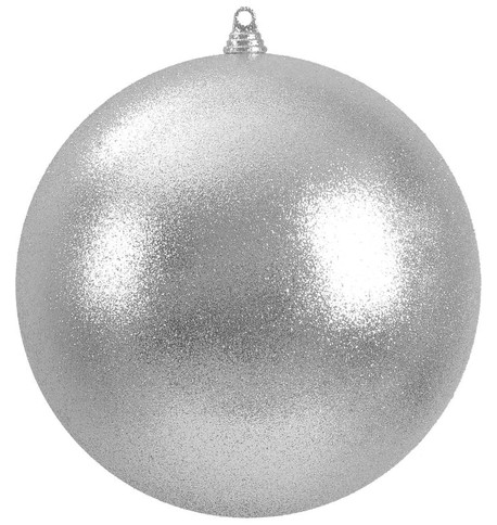 400mm GLITTER BAUBLES - SILVER Silver