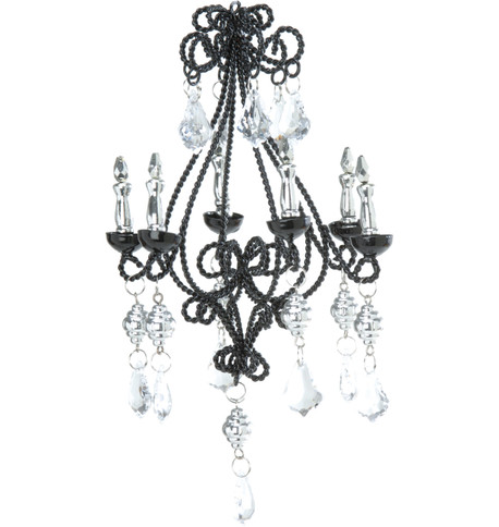 JEWELLED WIRE CHANDELIER Black