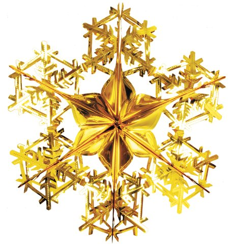 FOIL SNOWFLAKES - GOLD Gold
