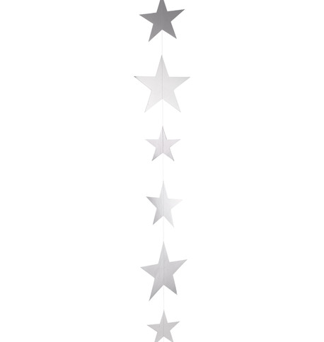 METALLIC CARD STAR GARLANDS - SILVER Silver