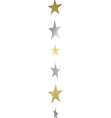 METALLIC CARD STAR GARLANDS - GOLD & SILVER Gold & Silver