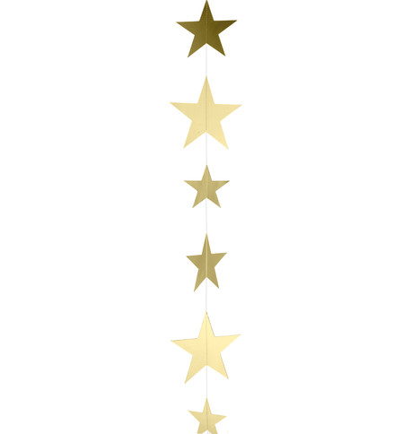 METALLIC CARD STAR GARLANDS - GOLD Gold