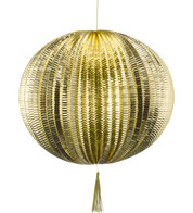METALLIC PAPER BALL LANTERNS - LARGE - GOLD - Gold