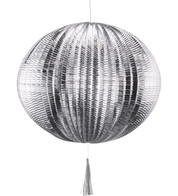 METALLIC PAPER BALL LANTERNS - LARGE - SILVER - Silver