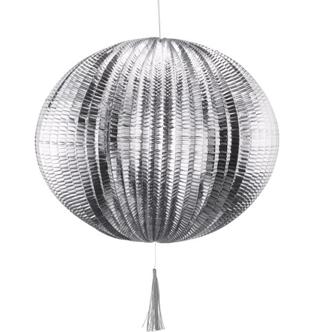 METALLIC PAPER BALL LANTERNS - LARGE - SILVER Silver