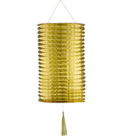 METALLIC PAPER COLUMN LANTERNS - LARGE - GOLD - Gold
