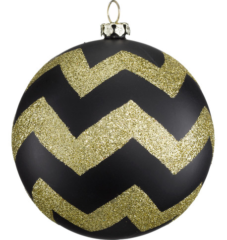 GLITTER ZIG ZAG BAUBLES Black & Gold