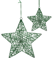 YARN WRAPPED STARS - GREEN - Green