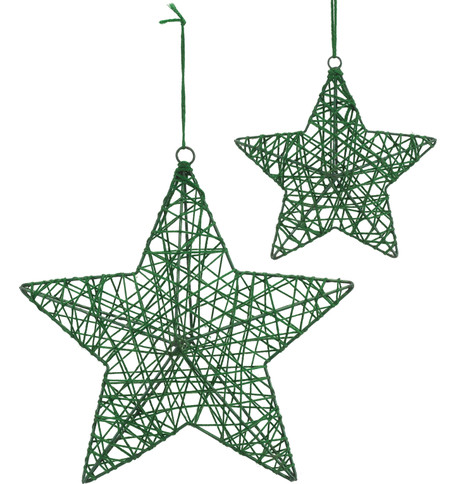 YARN WRAPPED STARS - GREEN Green
