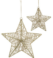 YARN WRAPPED STARS - NATURAL - Natural