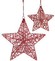 YARN WRAPPED STARS - RED - Red