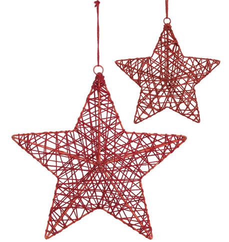 YARN WRAPPED STARS - RED Red