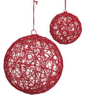 YARN WRAPPED BALLS - RED - Red