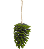 FLOCKED PINE CONES - GREEN - Green