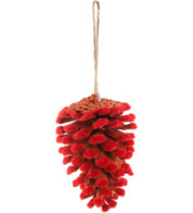 FLOCKED PINE CONES - RED - Red