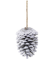 FLOCKED PINE CONES - WHITE - White