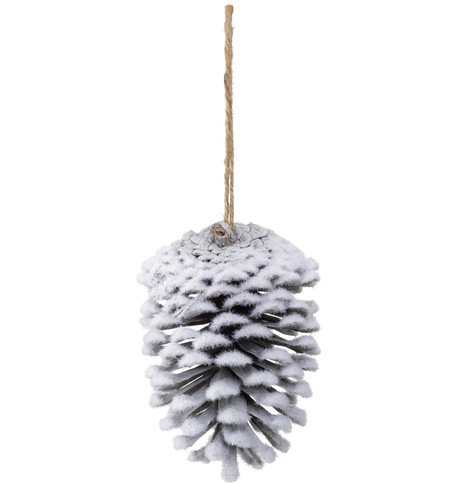 FLOCKED PINE CONES - WHITE White