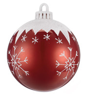 BAUBLE WITH SNOWFLAKES - 100mm - Red and White