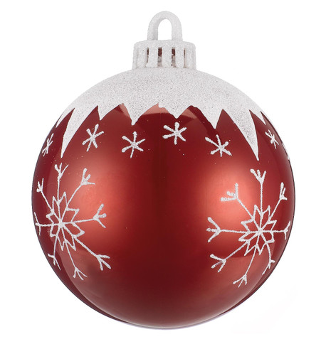 BAUBLE WITH SNOWFLAKES - 100mm Red And White