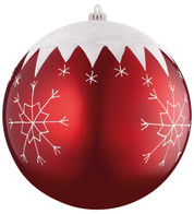 BAUBLE WITH SNOWFLAKES - 250mm - Red And White