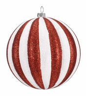 BAUBLE - GLITTER STRIPES - Red and White